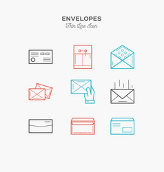 envelopes package and more thin line color icons vector image