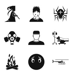 Fear icons set simple style vector