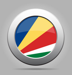 Flag of seychelles metal gray round button vector