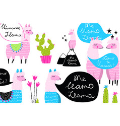 fun quirky background llamas and cactus design vector image