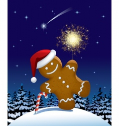 Gingerbread man wish a sparkler vector