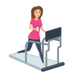 girl engaged fitness on treadmill putting order vector image