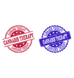 Grunge scratched cannabis therapy seal stamps vector