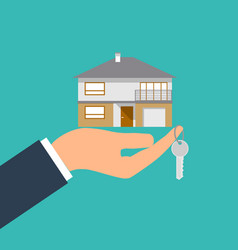 hand holding house and key image vector image