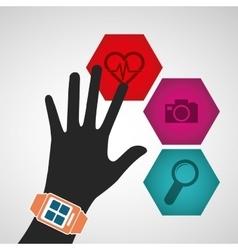 Hand wearing smart watch wearable technology media vector