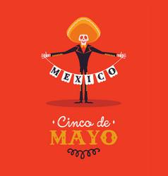 happy cinco de mayo card skeleton mariachi vector image