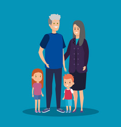 Happy grandparents together with cute kids vector