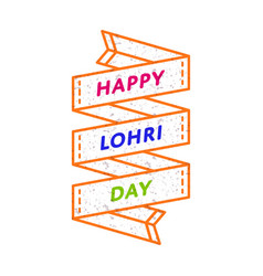 Happy lohri day greeting emblem vector