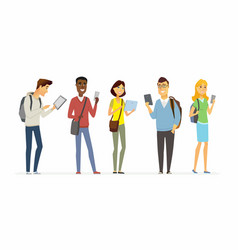 Happy students checking their phones - cartoon vector