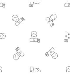 hipster man take selfie pattern seamless vector image