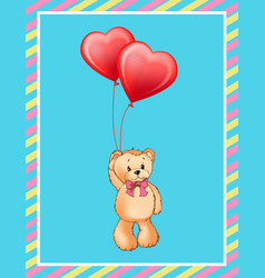 i love you inscription on poster cute teddy bear vector image
