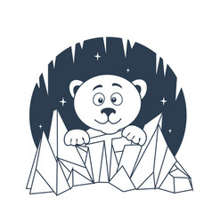 icon polar bear night vector image