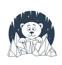 Icon polar bear night vector