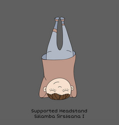 kid yoga pose supported headstand vector image