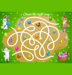 Kids maze game help easter bunny choose right way vector