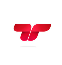 letter t or double r logo concept red vector image