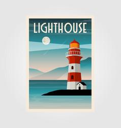 lighthouse poster design coastal line vector image