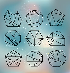 Line shapes crystal geometry Diamonds design vector