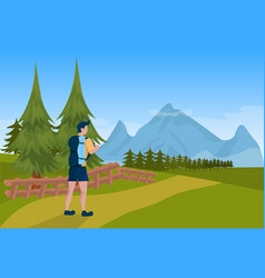 man tourist hiker backpack male over mountain vector image