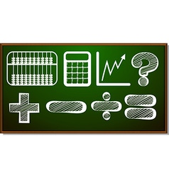Math symbols on blackboard vector image