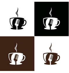 Microphone and coffee logo template vector