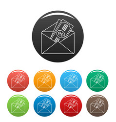 Money in envelope icons set color vector