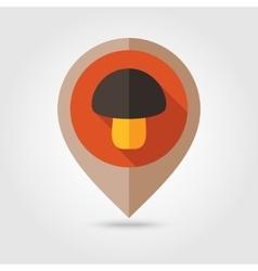 Mushroom flat mapping pin icon vector image vector image