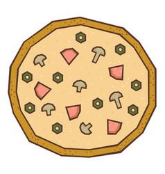 mushroom pizza cartoon vector image