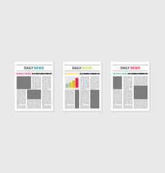 newspaper template mockup news and magazines vector image