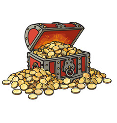 old chest with gold coins piles coins around vector image
