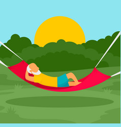old man rest hammock concept background flat vector image