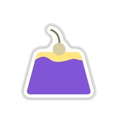 Panna cotta sticker vector