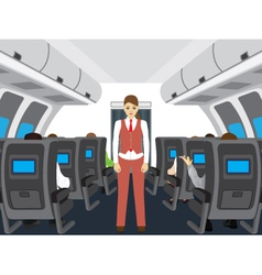 Passengers and stewardess on the plane vector