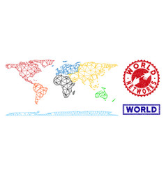 Polygonal 2d world continent map and grunge stamps vector