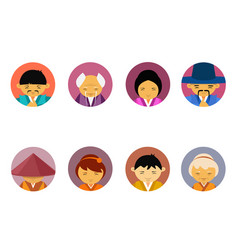Portraits of asian people set of men and women vector