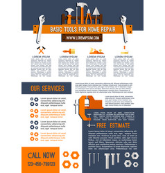 poster for house repair service work tools vector image