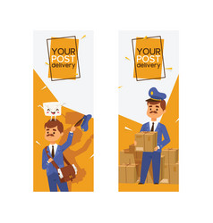 postman mailman delivers mails in postbox or vector image