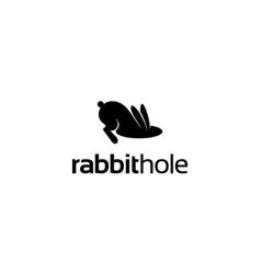 Rabbit bunny hole animal logo design vector
