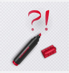 realistic red marker with exclamation and question vector image