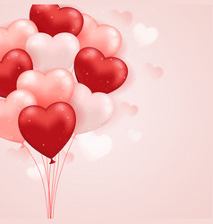 red and pink heart balloons vector image