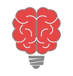 Red brain and grey light bulb holder vector