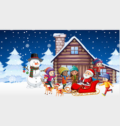 scene with kids and santa on christmas night vector image