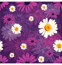 Seamless floral pattern with violet flowers and vector
