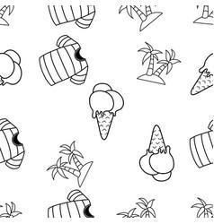 Seamless pattern ice cream cone beach summe vector