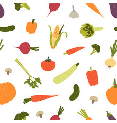 seamless pattern with harvested crops or fresh raw vector image