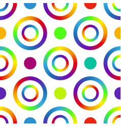 seamless pattern with multi-colored rings and dots vector image