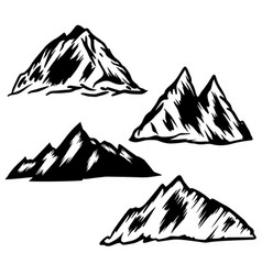 Set hand drawn mountain design element for vector