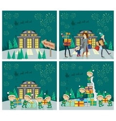 Set of Christmas Celebrating Concepts vector