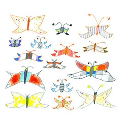 Set of hand-drawn butterflies and moths vector image