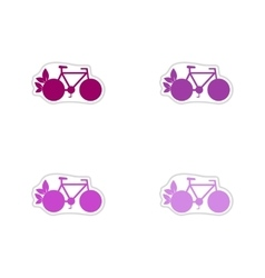 Set of paper stickers on white background eco bike vector